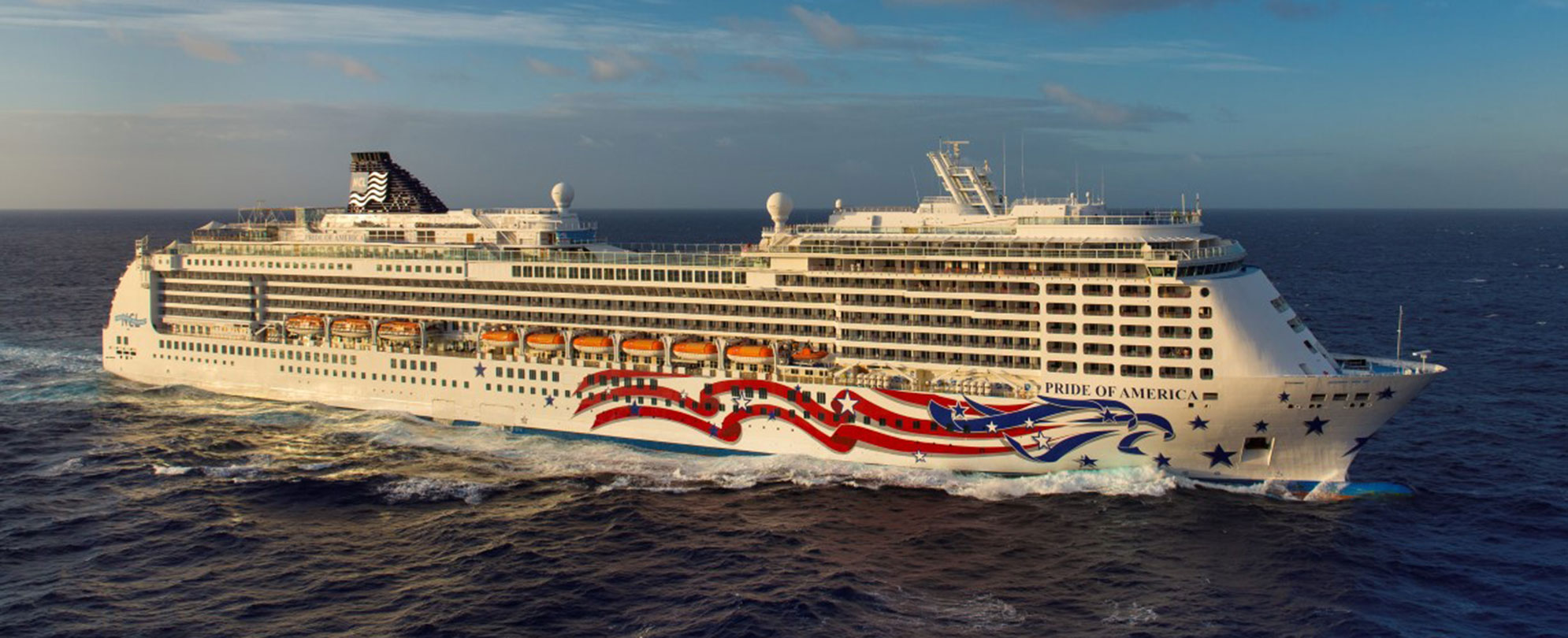 The Pride of America cruise ship sailing.