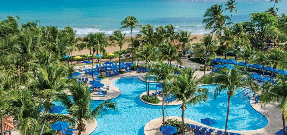 An oceanfront resort pool surrounded by palm trees and blue chairs at a Margaritaville Vacation Club by Wyndham - Rio Mar.