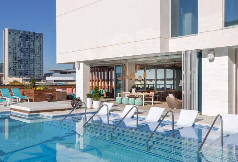 The rooftop pool area at Margaritaville Vacation Club by Wyndham – Nashville, TN resort.